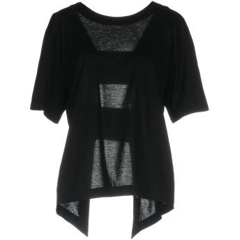 《9/20まで! 限定セール開催中》ERIKA CAVALLINI レディース T シャツ ブラック L コットン 100% / ポリエステル