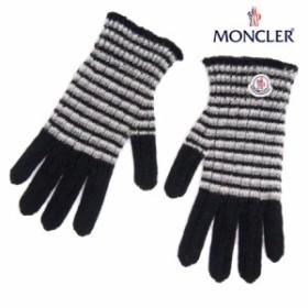 送料無料!!【16】MONCLER モンクレール ロゴワッペン WOOL100% 手袋/グローブ ブラックボーダー