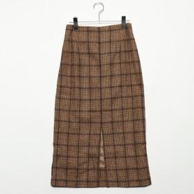 スタイルブロック STYLEBLOCK ツイードチェックタイトスカート (ベージュ)