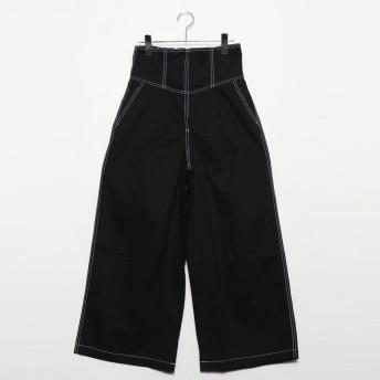 スタイルブロック STYLEBLOCK 綿ツイルハイウエストコルセットパンツ (ブラック)