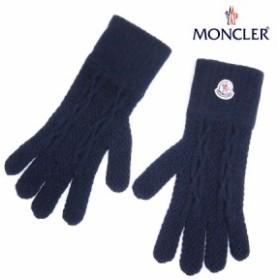 送料無料!!【19】MONCLER モンクレール ロゴワッペン カシミヤ 100% 手袋/グローブ ネイビー
