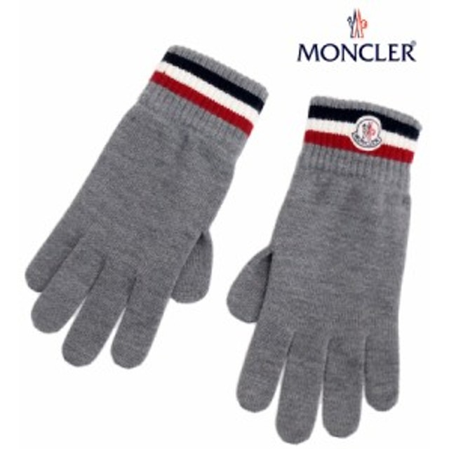 送料無料!!【13】MONCLER モンクレール ロゴワッペン WOOL100% 手袋/グローブ グレー