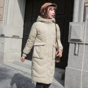 ロングコート スリムタイプ 冬新作 キルトジャケット フード付き 大きいサイズ オルチャン レディース