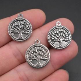 ツリーメダルステンレスパーツ 1個販売 21mmx18mm 木 ウッド 樹木 丸型 コイン型 大きな木 ボヘミアン チャームパーツ イヤリング ピアス