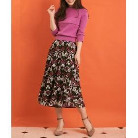 Noela ノエラ 幾何学フラワー柄刺繍スカート レディース