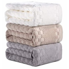 AOTIBESO タオル 3枚セット 綿100% ふわふわ 大判 3色 フェイスタオル 柔らか肌触り 吸水速乾 抗菌防臭 重さ約110g/枚 ホワイト カー