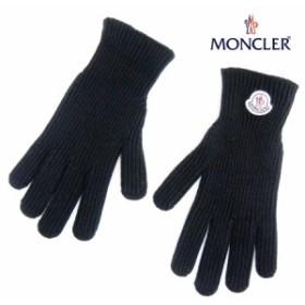 送料無料!!【17】MONCLER モンクレール ロゴワッペン WOOL100% 手袋/グローブ ブラック