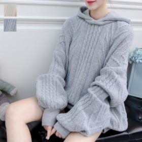 [秋冬新作★NewItem]2色 !レイヤード風フート付きざっくり編み柄ニットトップス/レディース