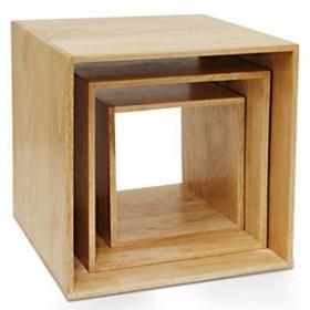 天然木 ラバーウッド キューブ ボックス 小物 収納 23×23×25cm  (M) ナチュラル   100367201