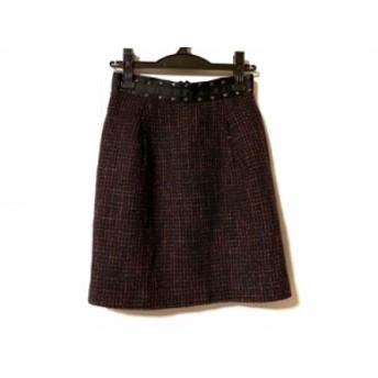ジャスグリッティー JUSGLITTY スカート サイズ2 M レディース 黒×ピンク×パープル ツイード/ラメ【中古】