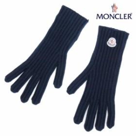 送料無料!!【21】MONCLER モンクレール ロゴワッペン カシミヤ 100% 手袋/グローブ ネイビー