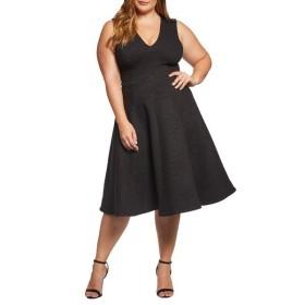 ドレスザポプレーション ワンピース トップス レディース Dress the Population Sleeveless A-Line Dress (Plus Size) Black