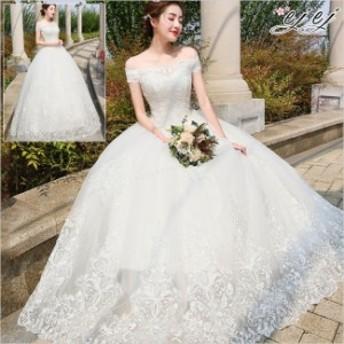 花嫁ドレス ウェディングドレス 結婚式 ノースリーブ ワンピース レディース 華やかドレス 花嫁のドレス プリンセス 引き裾
