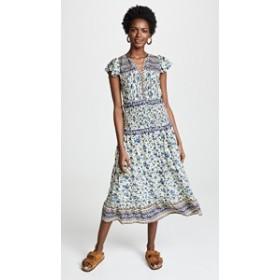 シー ドレス マキシドレス レディース【Sea Doe Print Smocked Midi Dress】Blue Multi