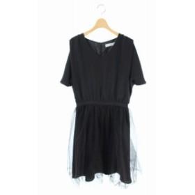 【中古】リトルブラックドレス LITTLE BLACK DRESS ワンピース ノースリーブ チュール ひざ丈 F 黒 /AA レディース