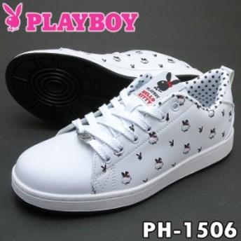 PLAYBOY Bunny プレイボーイ レディース スニーカー PH-1506 ホワイト/ブラック ハローキティーコラボレーション限定モデル PH1506 PSsal