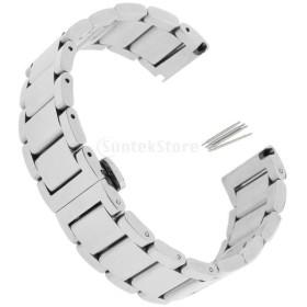 ステンレス ストラップ バンド 腕時計 交換用 留め金 シルバー 全3サイズ  - 20mm