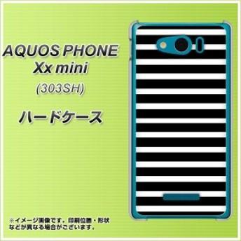 【限定特価】SoftBank アクオスフォン Xx mini 303SH ハードケース / カバー【330 サイドボーダーブラック 素材クリア】(アクオスフォン