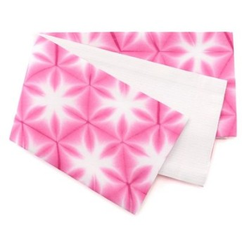 kimono cafe / 板締め浴衣帯 六花柄 伝統工芸士による染色仕上げ