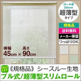 【規格品】超薄型スリムロールスクリーン プル式/シースルー生地(ソレイユ) 横幅45cm×高さ90cm