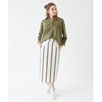 シャツ - titivate オーバーサイズミリタリーシャツ/とろみのあるシルエットでカジュアルなのに綺麗め/トップス/レディース/シャツ/ミリタリー/羽織/ライトアウター/オーバーサイズ