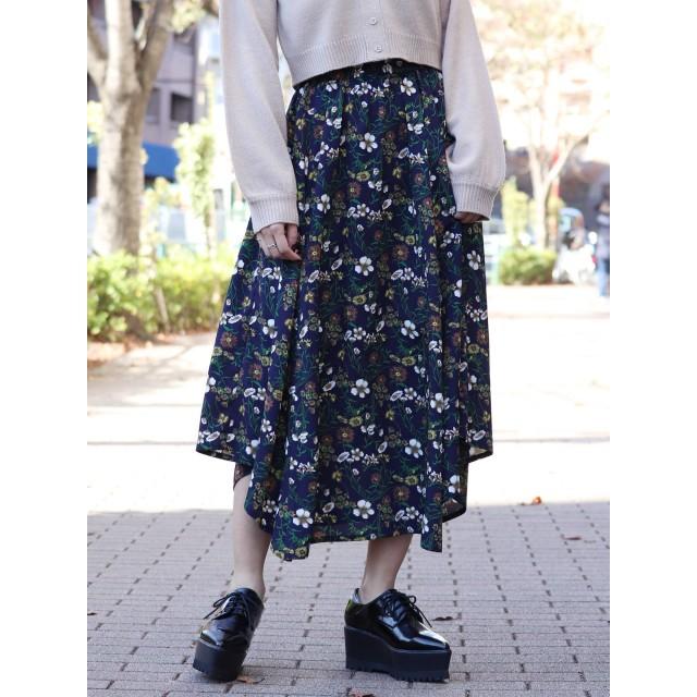 [MURUA]エアリーイレヘムフラワースカート