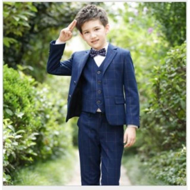 84835c0108b88 5点セット 男の子スーツ チェック柄 子供服スーツ フォーマルスーツ 入学式 ジュニア キッズ