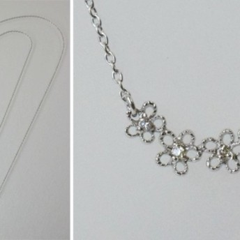 K18WG お花・ダイヤモンドプチネックレス 41616-310