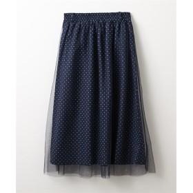 ドット柄×チュールスカート (ロング丈・マキシ丈スカート),skirt