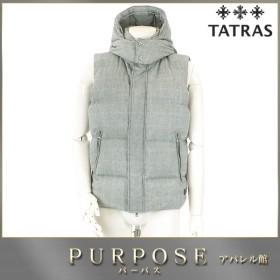 タトラス TATRAS ダウン ベスト アウター チェック 柄 フード付き ZIP 中綿 グレー サイズ 03 メンズ