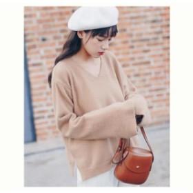 ニット セーター ゆったり あったか 可愛い 綺麗め キャメル クリーム 上品 おしゃれ 萌え袖