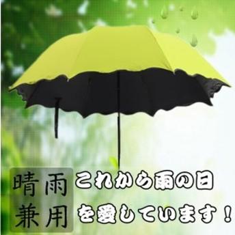 折りたたみ傘 折り畳み傘 日傘 レディース 可愛い傘 濡れると花咲く 三折り傘 超軽量 丈夫 晴雨兼用