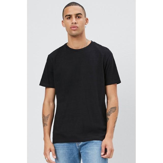 Tシャツ - FOREVER 21【MEN】 【コットンクルーネックTシャツ】無地 シンプル 黄色 イエロー 黒 ブラック XS S M L 半袖tシャツ
