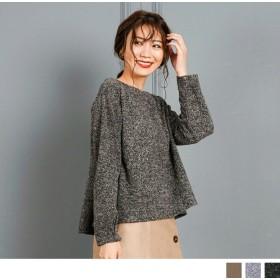 Tシャツ - Petit Fleur タック 袖 ブークレ 素材 ドレープ フレア 長袖 レディース プルオーバー カットソー (3カラー)