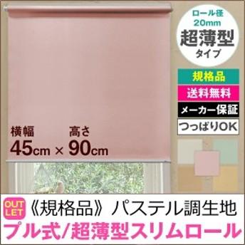 【規格品】超薄型スリムロールスクリーン プル式/パステル調生地(フルーレ)横幅45cm×高さ90cm