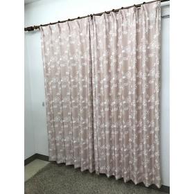 2枚組 ドレープカーテン ロージア(100×135cm/ピンク)