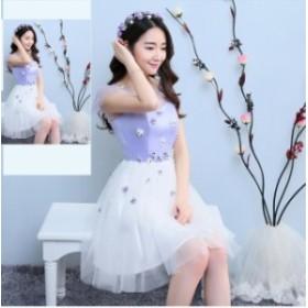 6タイプ 花柄 飾り フレア チュール ワンピ 可愛い 上品 きれいめ オルチャン 発表会 パーティ お呼ばれ 大きいサイズ