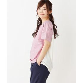 pink adobe(ピンクアドベ) 【裾タック・前後切り替え】チェック&ストライププルオーバ