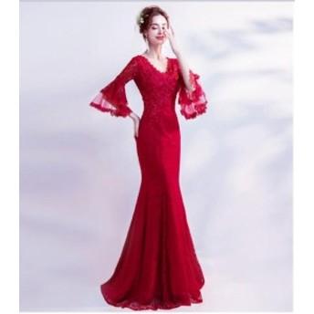 花柄 刺繍 フレア袖 タイト マーメイド ロング ワンピ 可愛い きれいめ 美ライン オルチャン パーティ お呼ばれ 結婚式
