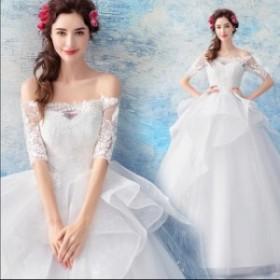 花柄 レース 五分袖 フリル Aライン ロング ドレス ウェディング 可愛い 清楚 オルチャン 結婚式 披露宴 大きいサイズ