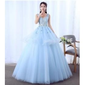 Vネック チュールスカート 優雅 パーティードレス ロングドレス フォマールドレス 司会 お呼ばれドレス カラードレス ファション