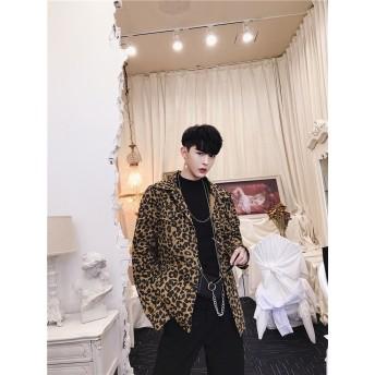 [55555SHOP]韓国ファッション 新品スニーカー大人気 ポップなファッション ジャケット アウター メンズ カッコイイ 豹柄 スデンカラー