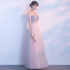 花柄 刺繍 オフショルダー ハイウエスト Aライン ロング ドレス 可愛い きれい 上品 オルチャン パーティ 大きいサイズ