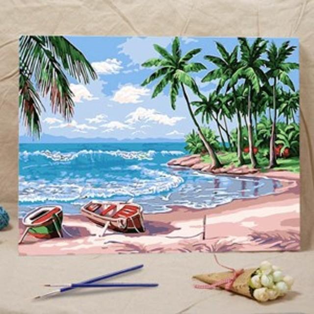 数字塗り絵 油絵風 ビーチとヤシの木 海辺 大人の塗り絵 フレーム絵画