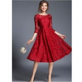 ドレス パーティードレス ワンピース 袖あり 膝丈 お呼ばれドレス 結婚式 二次会 お呼ばれ 20代 30代 40代 フォーマル 1433