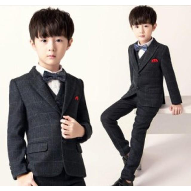 07ae69129e362 上品 チェック柄 子供スーツ フォーマルスーツ 5点セット キッズスーツ ジュニア 男の子スーツ 演奏
