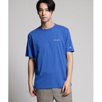 ティーケー タケオキクチ Champion for tk. TAKEO KIKUCHI ロゴ刺繍Tシャツ メンズ ブルー(092) 01(S) 【tk. TAKEO KIKUCHI】