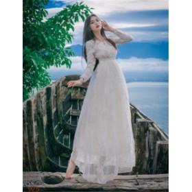 マキシワンピ マキシワンピース ドレス 長袖マキシ丈 レディース ホワイト ロング マキシワンピ 結婚式 白 ワンピース