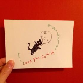 【送料無料】赤ちゃんと黒猫イラストポストカード4枚セット/baby & black cat post cards