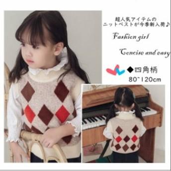 2018 子供服 ベビー 女の子 かわいい ニットベスト ◆四角柄 ケーブル編み 丸襟 秋冬